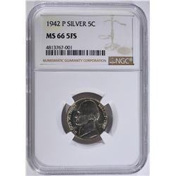 1942-P SILVER JEFFERSON NICKEL NGC MS-66 FS