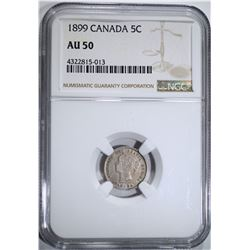 1899 CANADA 5-CENTS, NGC AU-50