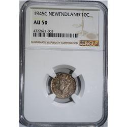 1945-C NEW FOUNDLAND DIME, NGC AU-50