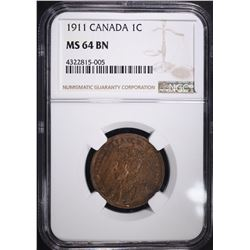 1911 CANADIAN LARGE CENT, NGC MS-64 BN