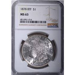 1878 8TF MORGAN DOLLAR, NGC MS-63