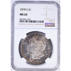 1878-S MORGAN DOLLAR, NGC MS-63