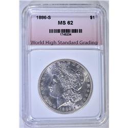 1886-S MORGAN DOLLAR, WHSG CH BU