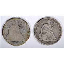 1857 VG & 1858-O G SEATED HALF DOLLARS