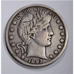 1893-S BARBER HALF DOLLAR, VF/XF KEY COIN