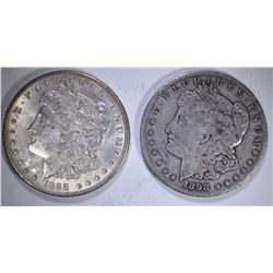 1888 CH BU & 1898-S F/VF ORIGINAL MORGAN DOLLARS