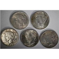 5-CIRC 1923 PEACE SILVER DOLLARS