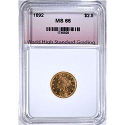 1892 $2.50 GOLD LIBERTY, WHSG GEM BU