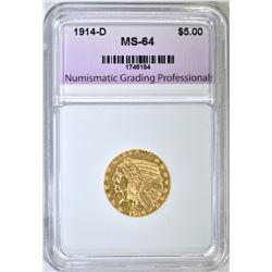 1914-D $5.00 GOLD INDIAN, NGP CH/GEM BU