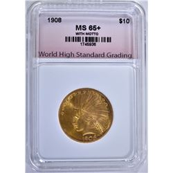 1908 $10 GOLD INDIAN WITH MOTTO, WHSG GEM BU+