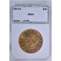 1874-S $20.00 GOLD LIBERTY, PCI CH/GEM BU