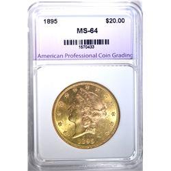 1895 $20.00 GOLD LIBERTY, APCG CH/GEM BU