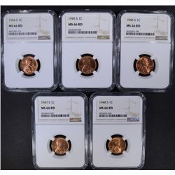 "5 ""S"" MINT LINCOLN CENTS NGC MS-66 RD"