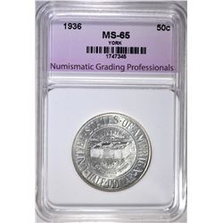 1936 YORK HALF DOLLAR, NGP GEM BU