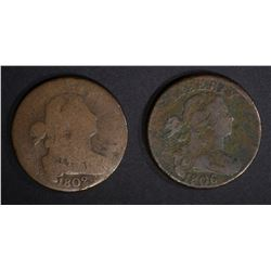 1802 & 1806 LARGE CENTS, AG/GOOD