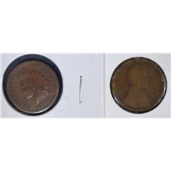 KEY CENTS; 1870 G/VG & 1909-S GOOD