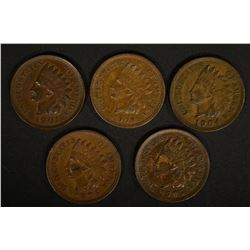 5-AU INDIAN HEAD CENTS 1901, 04, 2-05 & 1-08