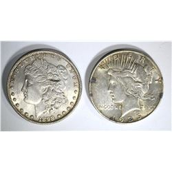 1898 MORGAN BU & 1935-S PEACE AU SILVER DOLLARS