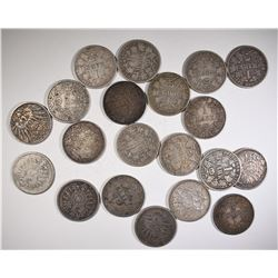 20-SILVER GERMAN 1 MARK COINS 1800'S & 1900'S