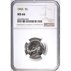 1965 JEFFERSON NICKEL, NGC MS-66