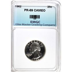 1962 WASHINGTON QUARTER, EMGC SUPERB GEM+ PF CAMEO
