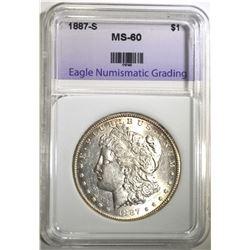 1887-S MORGAN DOLLAR, ENG UNC NICE!