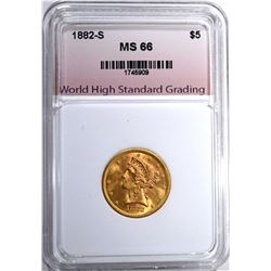1882-S $5.00 GOLD LIBERTY, WHSG SUPERB GEM BU