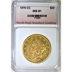 1876-CC $20.00 GOLD LIBERTY, WHSG BU