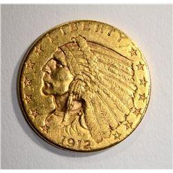 1912 $2.50 GOLD INDIAN, AU/UNC