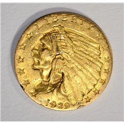 1929 $2.50 INDIAN GOLD, AU/UNC