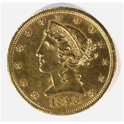 1893-CC $5.00 GOLD LIBERTY, GEM BU
