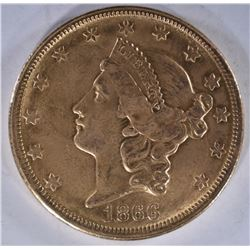 1866-S $20.00 GOLD LIBERTY, CH AU -TOUGH DATE!