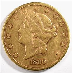 1880-S $20.00 GOLD LIBERTY, XF/AU