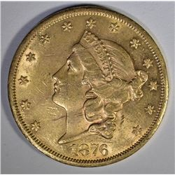 1876-CC $20.00 GOLD LIBERTY  AU/BU