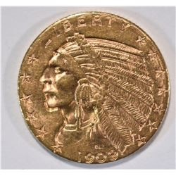 1909-D $5.00 GOLD INDIAN HEAD CH BU