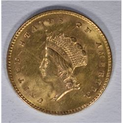 1854 $1.00 TYPE 2 GOLD  GEM BU