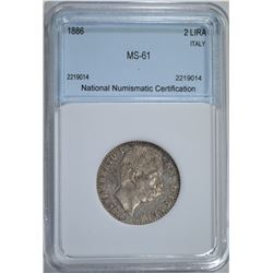 1886 SILVER 2 LIRA ITALY NNC CH BU
