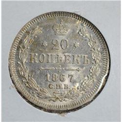 1867 SILVER 20KOPEK CZARIST RUSSIA GEM BU