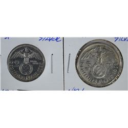 2 COIN LOT: 1938A & 39A SILVER 2 & 5 MARKS