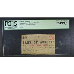 1863 25 CENT BANK OF AUGUSTA PCGS 55 PPQ