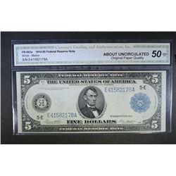 1914 $5 FEDERAL RESERVE NOTE CGA AU-OPQ