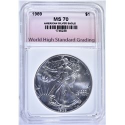 1989 AMERICAN SILVER EAGLE WHSG GRADED