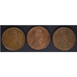 3 LINCOLN CENTS: 1919-S, 1917 & 1910