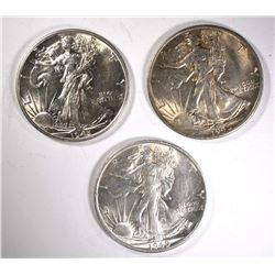 3-CH BU 1945-S WALKING LIBERTY HALF DOLLARS