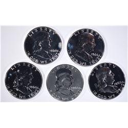 5-PROOF 1960 FRANKLIN HALF DOLLARS