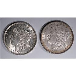2 MORGAN DOLLARS: 1921 GEM BU & 1878-S CH BU