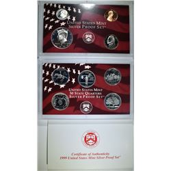 1999 U.S. SILVER PROOF SET, ORIG BOX/COA