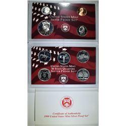 1999 U.S. SILVER PROOF SET, ORIG BOX/COA