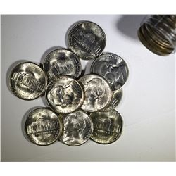 "BU ROLL OF 1943-S SILVER JEFFERSON ""WAR"" NICKELS"