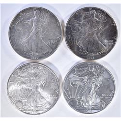 4-BU ONE OUNCE .999 SILVER AMERICAN EAGLES